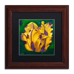 "Trademark Art 'Yellow Virus Tulip' Framed Painting Print Mat Color: Black, Size: 11"" H x 11"" W x 0.5"" D"