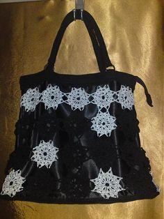 Crochet handbag Silver stars in black sky LiliAnna / Háčkovaná kabelka so striebornými hviezdičkami