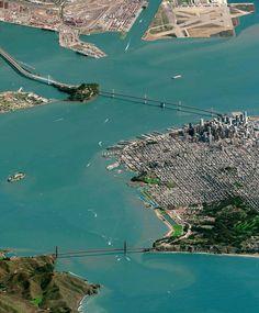 De Golden Gate Bridge Bay Bridge en downtown San Francisco van boven.