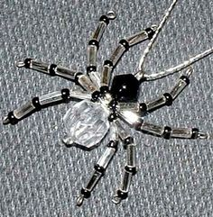 Clear and black spider necklace