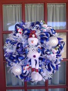 Christmas Snowman Blue and Silver Deco Mesh Door by CrazyboutDeco, $89.00