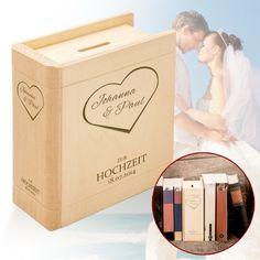 Ein Sparbuch zur Hochzeit mit persönlicher Herz Gravur als passende Geschenkidee für Ihr Geldgeschenk. Verschenken Sie Geld originell und individuell.