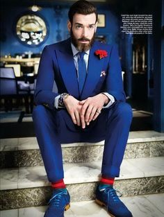 """Excellent magazine 'The Rake' of March 2013 showcases those nice pictures photographed by Luke Carby at the Berkeley Hotel in London. Fashion editorial called """"Kind of Blue"""" featuring model Rich Biedul, Christopher, and Michael Browne (tailor at Chittleborough & Morgan) styled in stylish blue outfits by fashion editor, Sarah Ann Murray. therakeonline.com"""
