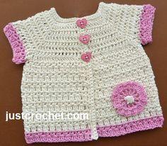 Free baby crochet pattern for short sleeve cotton coat. http://www.justcrochet.com/cotton-coat-usa.html #justcrochet #patternsforcrochet