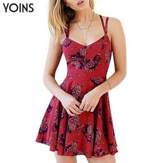 2016 Sexy V-neck Floral Print Cami Dress Backless Women Skater Dresses Plus Size Bandage Summer Dress Party Night Clubwear