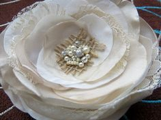 Bridal hair accessory burlap wedding hair piece by LeFleurShop, $35.00