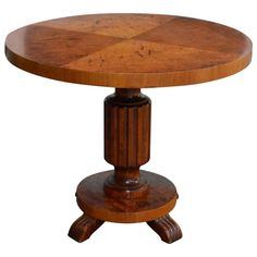 Swedish Art Deco Round Pedestal Table | From a unique collection of antique and modern side tables at https://www.1stdibs.com/furniture/tables/side-tables/