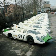 Porsche 917s at Zuffenhausen, 1969