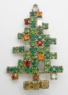 Weiss Three Candle Christmas Tree Brooch - Garden Party Collection Vintage Jewelry