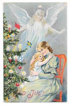 Annons på Tradera: Jenny Nyström Julkort Ängel svävar över mor flicka Pyntad julgran pg 1906 KV 7 8
