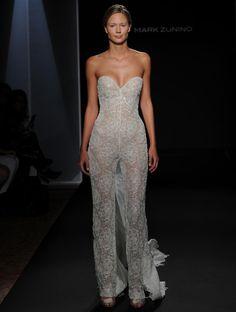 Mark Zunino Fall 2016 beaded illusion over nude jumpsuit wedding attire   https://www.theknot.com/content/mark-zunino-wedding-dresses-bridal-fashion-week-fall-2016