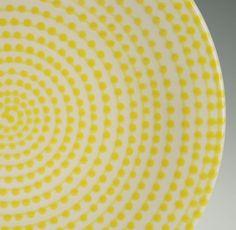 Lemon Yellow Vertigo Plate Hand Painted Spiral by owlcreekceramics, $20.00