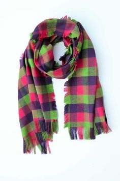 Tartan scarf oversize scarf shawl blanket by VictoriaGraceClothes