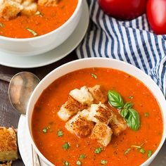 Roasted Tomato Basil Soup Recipe Soups with roma tomatoes, cherry tomatoes, olive oil, ground black pepper, salt, garlic, yellow onion, fresh basil leaves, vegetable broth, cheese croutons