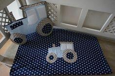 Traktorkissen, Traktor, Decke mit Traktorapplikaton, Babydecke, PedisHandmade