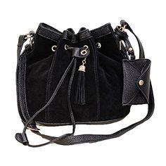 Abody New Fashion Women Girl Bucket Bag Tassel Drawstring Crossbody Messenger Shoulder Bag Black * For more information, visit image link.