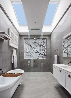 Need inspiration? Get ideas and inspiration from our room gallery to see how you can add natural lighting to your home and create a masterpiece with VELUX Skylights. Bathroom Gallery, Bathroom Red, Boho Bathroom, Small Bathroom, Master Bathroom, Bathroom Lighting, Bathroom Ideas, Restroom Ideas, Bathroom Vanities