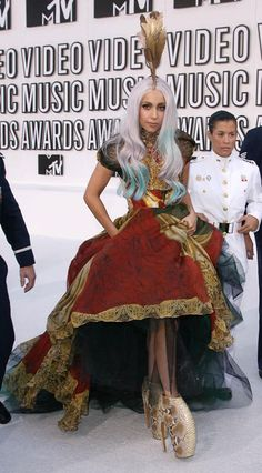 Lady Gaga McQueen dress Armadillo shoes MTV VMAs 2010