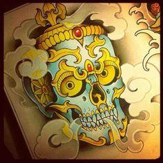 Tibetan skull tattoo Japanese Tattoo Art, Japanese Tattoo Designs, Best Tattoo Designs, Oni Tattoo, Skull Tattoos, Skull Tattoo Design, Skull Design, Koi Dragon Tattoo, Tibetan Tattoo