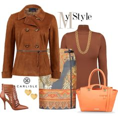 """Carlisle: Cognac suede jacket and Persian animal-print paisley skirt."" by carlislecollection on Polyvore"