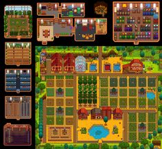 Wanted to share - Year finally organized and productive (You are encouraged to zoom! Stardew Farms, Stardew Valley Farms, Stardew Valley Greenhouse, Greenhouse Plans, Stardew Valley Tips, Stardew Valley Layout, Valley Game, Farm Layout, Video Games Girls