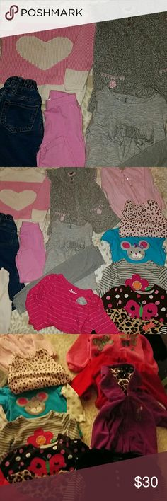 Girls 18 month Lot of enterchangable Outfits All clean and unstained.no defects - 4 Hooded Sweatshirts- 3 Sweaters-3 stretch pants- 1 pair of Children's Place Jeans-10 long sleeve tops - brands include children's place, carters,jumping beans,Circo,Okie Dokie,etc Carter's Matching Sets
