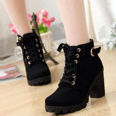 Autumn winter 2014 women new plus velvet short boots thick heels wild black matte female korean OL Martin boots Boots from Shoes on . Lace Up Booties, Lace Up Ankle Boots, High Heel Boots, Heeled Boots, High Shoes, Thick Heels, Chunky Heels, High Heels Plateau, Women's Motorcycle Boots