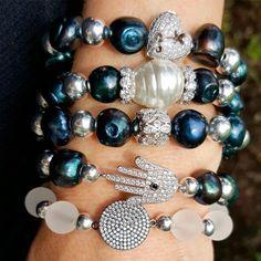 Set By Vila Veloni Obsession of Black Pearls Bracelets