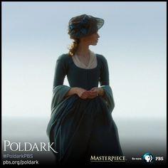 Heida Reed as Elizabeth in blue dress, made from dyed silk. Fine wool shawl. | Poldark, as seen on Masterpiece PBS