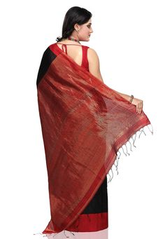 Buy Red and Black Pure Matka Silk Bengal Handloom Saree with Blouse online, work: Hand Woven, color: Black / Red, usage: Party, category: Sarees, fabric: Silk, price: $282.80, item code: SABA5046, gender: women, brand: Utsav