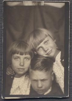 ** Vintage Photo Booth Picture **  Annoyed brother with his squishy squish sisters!  This is one of my new favourites.