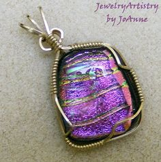 Wire Wrapped Pendant  Pink Dichroic Glass & by JewelryArtistry, $45.00