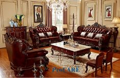 room furniture on sale at reasonable prices, buy luxury 3 different sets red solid wood genuine leather sofas set living room furniture with coffee table in from mobile site on Aliexpress Now! Luxury Living Room, Leather Sofa Living Room, Modern Living Room Furniture Sets, Living Room Sets Furniture, Sofa Set, Modern Furniture Living Room, Simple Living Room, Living Room Decor Rustic, Furniture Placement Living Room