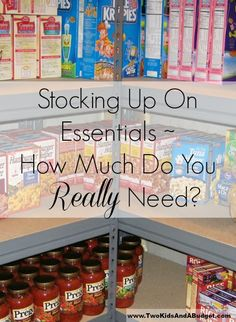 One question people ask when stockpiling is how much do you really need when stocking up on essentials? Learn how to easily figure out what you really need.  www.TwoKidsAndABudget.com