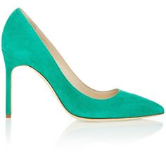Manolo Blahnik Suede BB Pumps ($595) ❤ liked on Polyvore featuring shoes, pumps, colorless, slip on shoes, suede pointed toe pumps, green suede pumps, pointed-toe pumps and pointy-toe pumps