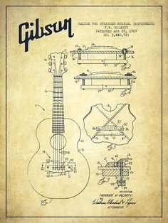 Mccarty Gibson Stringed Instrument Patent Drawing From 1969 - Vintage Digital Art by Aged Pixel