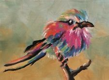 "Original Oil ACEO ""Lilac-Breasted Roller Bird"" by US Artist Kevin Cross"