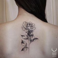 Blackwork Rose on Back by Zihwa
