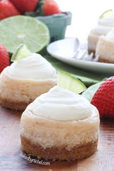 Mini strawberry margarita cheesecakes, perfect for Cinco de Mayo or any celebration! Recipe by @Rachel {Baked by Rachel}