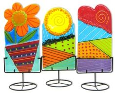 Anne Nye Colorful Fused Glass flower
