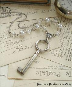 ETERNITY  Antique Skeleton Key Necklace Rare by PreciousPastimes