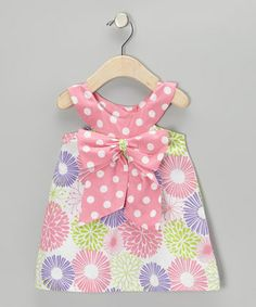 White & Lipstick Pink Floral Bow Yoke Dress - Infant & Toddler