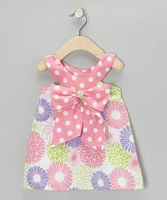 White & Lipstick Pink Floral Bow Yoke Dress - Infant & Toddler