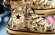 """classic comic strip Peanuts, Converse has designed an exclusive, Charlie Brown-inspired Chuck Taylor. The Converse Chuck Taylor """"Peanut Converse All Star, Mode Converse, Brown Converse, Converse Sneakers, Converse Chuck Taylor All Star, High Top Sneakers, Men Sneakers, Jouer Au Basket, Snoopy Love"""