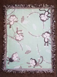 Monkey Fun Mint Green and Leaf Pattern Baby or Toddler Fleece Tie Blanket by BetsysItsyEtsy on Etsy