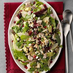 Pear Harvest Salad: We came up with this delicious salad trying to use up leftover turkey after Thanksgiving. Can skip turkey. Thanksgiving Recipes, Fall Recipes, Pear Recipes, Thanksgiving Appetizers, Thanksgiving Table, Yummy Recipes, Diet Recipes, Healthy Recipes, Harvest Salad