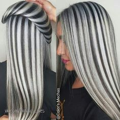 Silver Black Massive Patterns Look Like Pro Workers Gray Hair Highlights, Hair Color Balayage, Hair Color Dark, Cool Hair Color, Truss Hair, Blonde Hair Looks, Hair Color Techniques, Hair Videos, Hair Today