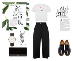 """Untitled #11"" by norarl on Polyvore featuring Dr. Martens, Balmain, Daniel Wellington, Yves Saint Laurent and Public School"