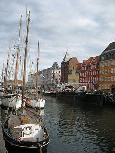 Copenhagen, Denmark. A boat in the Danish harbor.