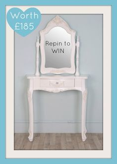 RePin To WIN! WIN Molly a White Dressing Table - simply Follow and RePIN for your chance to win! www.vintagevibe.c... - winner drawn 1st May 2013. 3 ways to win T's Apply UK only.